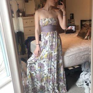 BCBGMAXAZRIA floral strapless gown